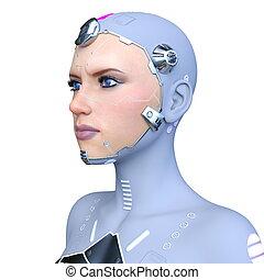 cyborg, frau, modell, 3d