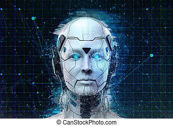 cyborg, frau, roboter, hintergrund, science-fiction