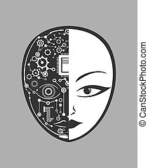 cyborg, gesicht, menschliche , ikone