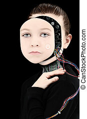 Cyborg Girl with Open Face