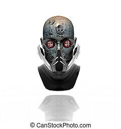 cyborg head, robot