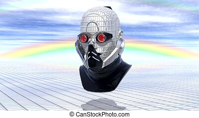 cyborg head, robot, loop