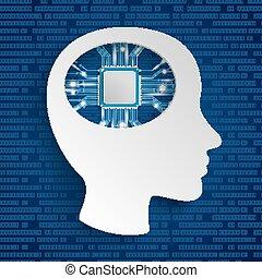 Cyborg Human Head Microchip Blue Background
