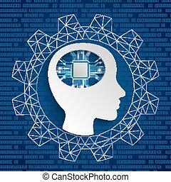 Cyborg Human Head Microchip Gear Blue