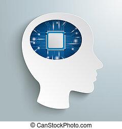 Cyborg Human Head Microchip Lights