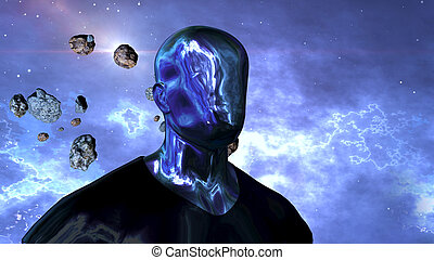 Cyborg human in the open space - A fantasy 3d illustration ...