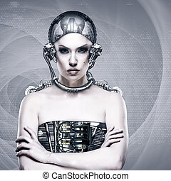 cyborg, manželka, abstraktní, věda i kdy technika, grafické pozadí