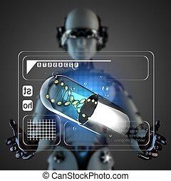 cyborg, manipulatihg, exposer, hologramme, femme