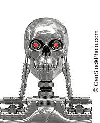 cyborg, metalen, witte, Vrijstaand