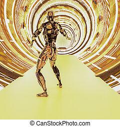 cyborg, metallisch, zukunftsidee, tunnel