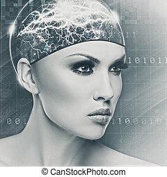 cyborg, nő, elvont, női, portré, helyett, -e, tervezés