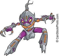 cyborg, ninja, robótico, guerrero