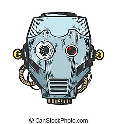 Cyborg robot metal head color sketch engraving vector illustration. Scratch board style imitation. Black and white hand drawn image.