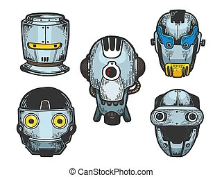 Cyborg robot metal heads set color sketch engraving vector illustration. Scratch board style imitation. Black and white hand drawn image.