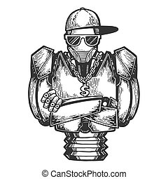 Cyborg robot metal hip-hop rapper sketch engraving vector illustration. Scratch board style imitation. Black and white hand drawn image.