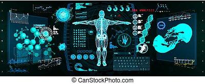 cyborg, schnittstelle, überfliegen, gui, hud, zukunftsidee