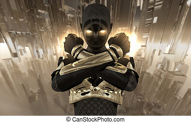 advanced cyborg character with futuristic city in background