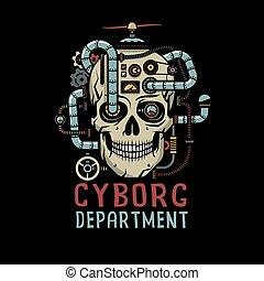 cyborg, steampunk, 頭骨