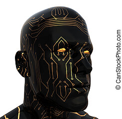 cyborg - abstract 3d illustration of cyborg head over white...
