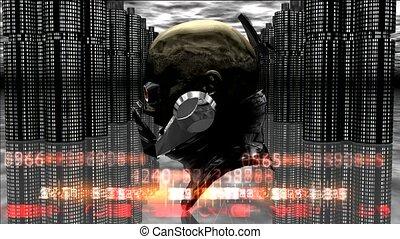 cyborg, tête, robot