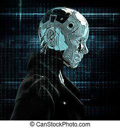 Cyborg the girl in a raincoat