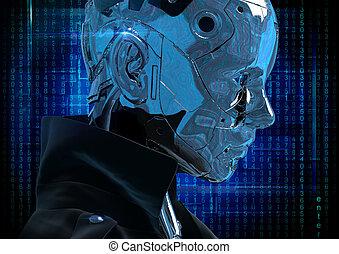 Cyborg the girl in a raincoat.