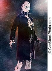 Cyborg the girl in a raincoat in the rain.