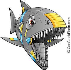 cyborg, vector, arte, robot, tiburón