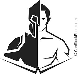 cyborg - vector black and white silhouette of a half-human, ...