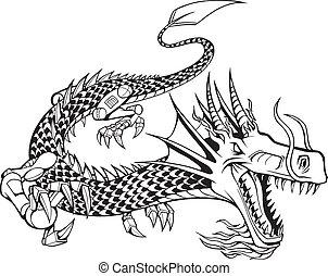 cyborg, vector, ilustración, dragón