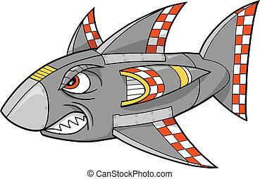cyborg, vector, robot, tiburón