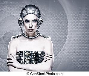 cyborg, vrouw, abstract, wetenschap en technologie, achtergronden