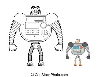 Cyborg Warrior coloring book. Man machine from outer space. Mechanical Bionic robot future soldier with  human head.
