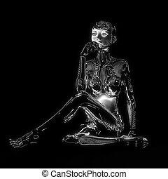 cyborg, weibliche , abbildung, 3d