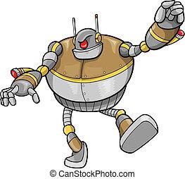 cyborg, wektor, robot, ilustracja