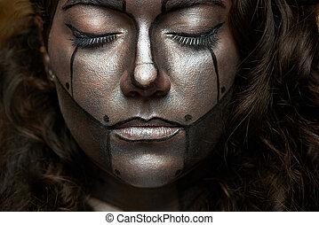 cyborg with closed eyes
