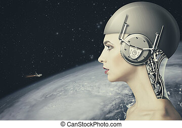 Cyborg woman, abstract science and technology backgrounds....