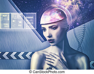 Cyborg woman. Abstract science and technology backgrounds