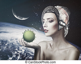 Cyborg woman, abstract science and technology backgrounds. ...