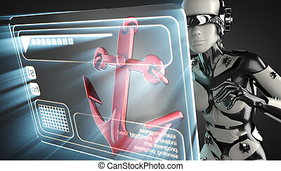 cyborg woman and anchor on hologram display