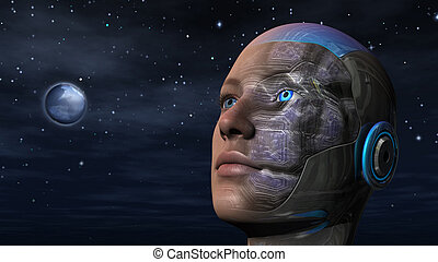 Cyborg woman with night sky background