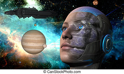 Cyborg Woman - Humanoid - Cyborg woman with planets,...