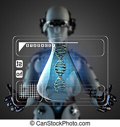 cyborg woman manipulatihg hologram display - robot woman...
