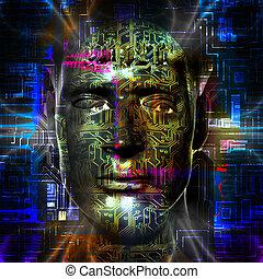 Cyborg's head - Cyborg artwork with computer electronics