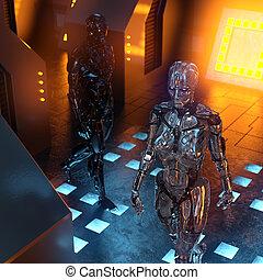 cyborgs, metallisch, zimmer, zwei, zukunftsidee