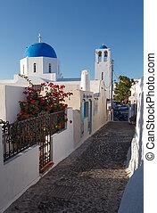cyclades, eiland, mykonos, straat, griekenland, smalle