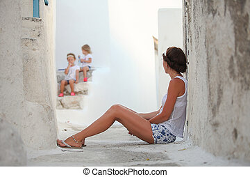 cyclades, haar, moeder, jonge, griekse , achtergrond, dorp, ...