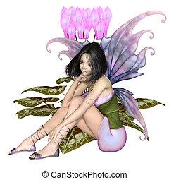 Cyclamen Fairy Sitting by Pink Flowers - Fantasy...