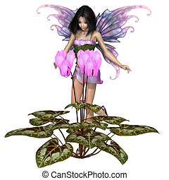 Cyclamen Fairy Standing by Pink Flowers - Fantasy...