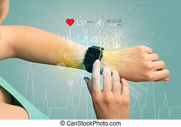 Cycle and smartwatch concept. - Hand with smartwatch and ...